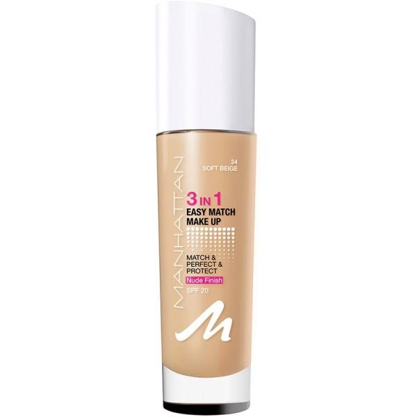 Manhattan 3in1 Easy Match Make-up 034-Soft Beige 30 ml, 7,09