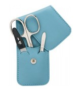 Erbe Collection dreiteiliges Manicure Set im Leder-Etui