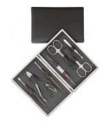 Erbe Collection siebenteiliges Manicure Set im Lederetui...