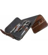 Erbe Collection vierteiliges Manicure Set im Lederetui 14...