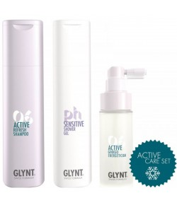 Aktion - Glynt Active Care Set Refresh Shampoo + Sensitive Shower Gel + Active Ginkgo Energeticum