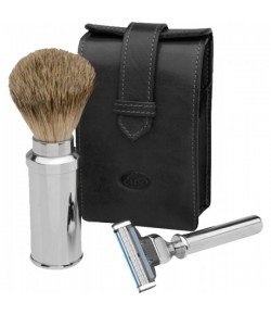 Erbe Collection Rasier-Set in Ledertasche 13 x 7 cm, braun, Gillette Mach 3