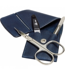 Erbe Collection dreiteiliges Manicure Set im Lederetui, blau 10,0 x 5,0 cm