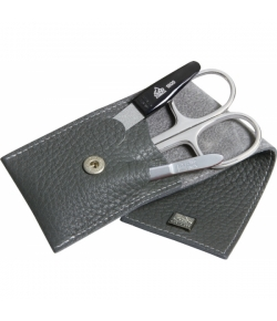 Erbe Collection dreiteiliges Manicure Set im Lederetui, grau 10,0 X 5,0 cm
