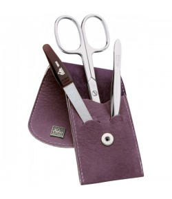 Erbe Collection dreiteiliges Manicure Set im Lederetui lila, 10,0 x 5,0 cm