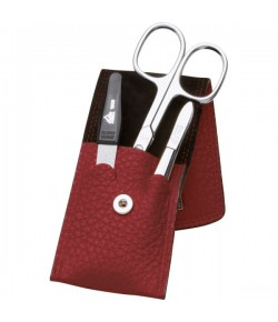 Erbe Collection dreiteiliges Manicure Set im Lederetui, rot 10,5 x 5,0 cm