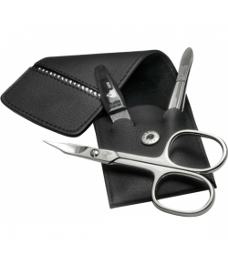 Erbe Collection dreiteiliges Manicure Set im Lederetui, schwarz 10,0 x 5,0 cm