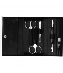 Erbe Collection f�nfteiliges Manicure Set im Kunstleder-Etui, schwarz 14,5 x 9,0 cm