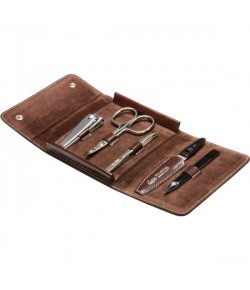 Erbe Collection fünfteiliges Manicure Set im Lederetui 10,5 x 9,5 cm
