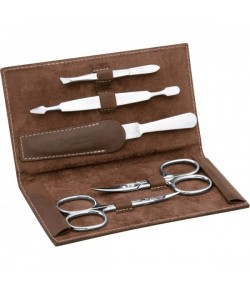 Erbe Collection fünfteiliges Manicure Set im Lederetui 14,5 x 8 cm