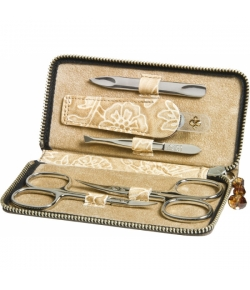 Erbe Collection fünfteiliges Manicure Set im Lederetui, beige 12,5 x 6,0 cm