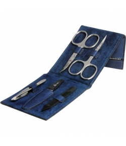 Erbe Collection f�nfteiliges Manicure Set im Lederetui, blau, 11,5 x 7,5 cm