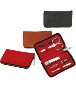 Erbe Collection fünfteiliges Manicure Set im Lederetui, braun, 11,0 x 6,5 cm