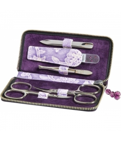 Erbe Collection f�nfteiliges Manicure Set im Lederetui, lila 12,5 x 6,0 cm