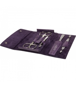 Erbe Collection fünfteiliges Manicure Set im Lederetui, lila 14,5 x 8,0 cm