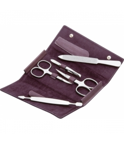 Erbe Collection f�nfteiliges Manicure Set im Lederetui, lila, 15,0 x7,5 cm