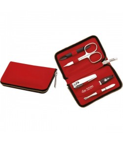 Erbe Collection fünfteiliges Manicure Set im Lederetui, rot 11,0 x 6,5 cm