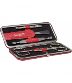 Erbe Collection fünfteiliges Manicure Set im Lederetui, rot 14,5 x 6,0 cm