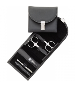 Erbe Collection fünfteiliges Manicure Set im Nylon Etui 11,0 x 9,5 cm
