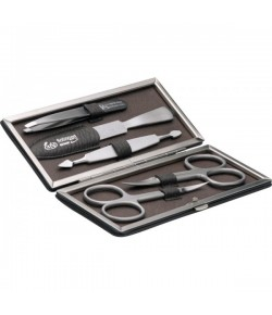 Erbe Collection fünfteiliges Manicure Set im braunen Lederetui 14,5 x 6,5 cm