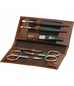 Erbe Collection sechsteiliges Manicure Set im Etui mit Kroko-Prägung 15 x 7,5 cm