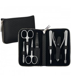 Erbe Collection siebenteiliges Manicure Set im Leder-Etui Carbon-Look