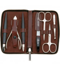 Erbe Collection siebenteiliges Manicure Set im Lederetui 14,5 x 8,5 cm