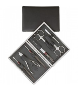 Erbe Collection siebenteiliges Manicure Set im Lederetui 15,5 x 11 cm