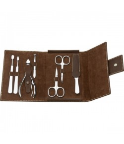 Erbe Collection siebenteiliges Manicure Set im Lederetui 16 x 11,5 cm