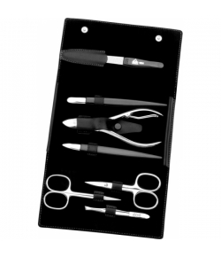 Erbe Collection siebenteiliges Manicure Set im Lederetui, schwarz, 15,5 x 9,5 cm