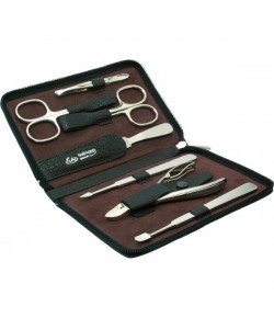 Erbe Collection siebenteiliges Manicure Set im Wasserbüffel-Lederetui 14,5 x 9,5 cm