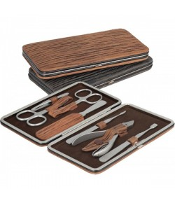 Erbe Collection siebenteiliges Manicure Set in Bügeletui, Wood Look
