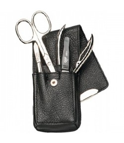 Erbe Collection vierteiliges Manicure Set im Leder-Etui