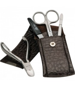 Erbe Collection vierteiliges Manicure Set im Lederetui braun 13,0 x 5,0 cm