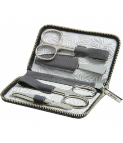 Erbe Collection vierteiliges Manicure Set im Lederetui, grau, 14,5 x 8,5 cm
