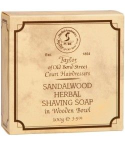 Taylor of Old Bond Street Sandalwood Herbal Shaving Soap Wood Bowl - Rasierseife in Holztiegel 100 g